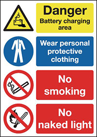 Danger Battery Charging Area Wear Personal Protective Clothing No Smoking No Naked Light 297x210mm 1.2mm Rigid Plastic Safety Sign