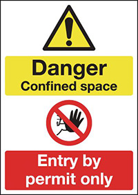 Danger Confined Space Entry By Permit Only 210x148mm 1.2mm Rigid Plastic Safety Sign