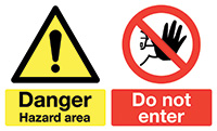 Thumbnail 450x600mm Danger Hazard area Do not enter stanchion sign