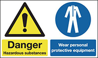 Danger Hazardous Substances Wear Personal Protective Equipment  150x300mm 1.2mm Rigid Plastic Safety Sign
