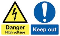 Danger High Voltage  150x300mm 1.2mm Rigid Plastic Safety Sign
