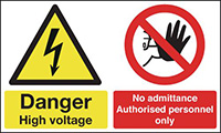 Danger High Voltage No Admittance Authorised 150x300mm 1.2mm Rigid Plastic Safety Sign