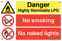 Danger Highly Flammable LPG No Smoking No Naked Lights 400x600mm 0.9mm Aluminium Safety Sign