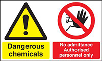 Dangerous Chemicals No Admittance Authorised Personnel Only 300x500mm 1.2mm Rigid Plastic Safety Sign