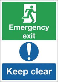 Emergency Exit Keep Clear  150x300mm 1.2mm Rigid Plastic Safety Sign