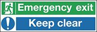 Emergency Exit Keep Clear  150x450mm 1.2mm Rigid Plastic Safety Sign