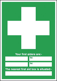 Thumbnail Your First Aiders Are  spaces  Your Nearest First Aid Box Is Situated 420x297mm 1.2mm Rigid Plastic Safety Sign