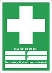 Thumbnail Your First Aiders Are  spaces  Your Nearest First Aid Box Is Situated 297x297mm 1.2mm Rigid Plastic Safety Sign