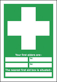 Your First Aiders Are  spaces  Your Nearest First Aid Box Is Situated 210x148mm 1.2mm Rigid Plastic Safety Sign
