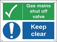 Gas Mains Shut Off Valve Keep Clear  150x200mm 0.9mm Aluminium Safety Sign