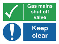 Gas Mains Shut Off Valve Keep - Site Safety Board  150x200mm 1.2mm Rigid Plastic Safety Sign