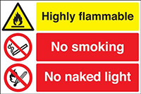 Highly Flammable No Smoking No Naked Light  300x500mm 1.2mm Rigid Plastic Safety Sign