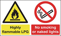 Highly Flammable LPG No Smoking or Naked Lights 300x500mm 1.2mm Rigid Plastic Safety Sign