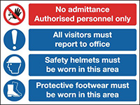 No Admittance Authorised Personnel Only All VisitorsMust Report To Site Office 600x800mm 1.2mm Rigid Plastic Safety Sign