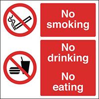 No SmokingNo DrinkingNo Eating  300x300mm Self Adhesive Vinyl Safety Sign