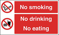 No Smoking No Drinking No Eating 150x300mm 1.2mm Rigid Plastic Safety Sign