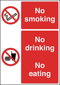 No Smoking No Drinking No Eating 210x148mm 1.2mm Rigid Plastic Safety Sign