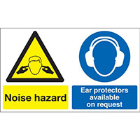 Noise Hazard Ear Protectors Available on Request 300x500mm 1.2mm Rigid Plastic Safety Sign