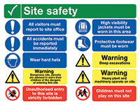 600x800mm Site Safety All Visitors Must Report to Site Office Site Safety Board