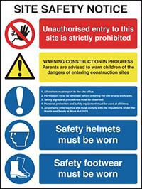 400x300mm Site Safety Notice - Rigid