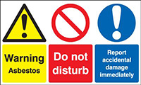 Warning Asbestos Do Not Disturb Report Accident Damage Immediately 300x500mm 1.2mm Rigid Plastic Safety Sign
