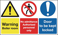 Warning Boiler Room No Admittance Authorised Door To Be Kept Locked 100x300mm 1.2mm Rigid Plastic Safety Sign