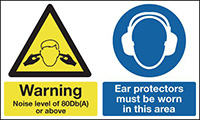 Warning Noise Level of 80Db A  or above Ear Protectors Must Be Worn In This Area 300x500mm 1.2mm Rigid Plastic Safety Sign