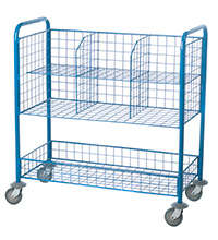 Post Room Trolley with 6 mesh compartments and a storage tray