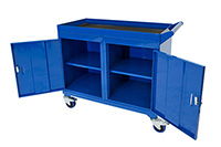 Mobile Tool Cabinet with 3mm fluted rubber overlay Workbenches - 2 Cupboards