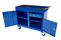 Mobile Tool Cabinet with 3mm fluted rubber overlay Workbenches - 150kg UDL.