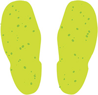Photoluminescent Footprints  Safety Sign Pack of 10