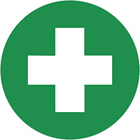 First Aid Symbols  100mm Self Adhesive Vinyl Safety Sign Pack of 30