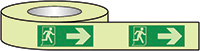 Running Man Arrow Right Photoluminescent Tape 40x10mm  Safety Sign