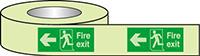 Fire Exit Running Man Arrow Left Photoluminescent Tape 40mmx10m  Safety Sign