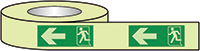 Running Man Arrow Left Photoluminescent Tape 40x10mm  Safety Sign