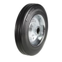 Black Solid Rubber Tyre / Silver Metal Ctr Wheel - 200mm - Plain Bore