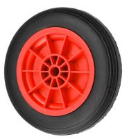 Black Solid Rubber Tyre  Red Polyprop. Ctr Wheel - 280mm