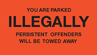 You are illegally parked - Permanent Parking Control Sticker 120x203mm Safety Sign