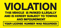 Violation - Permanent Parking Control Sticker 76x152mm  Safety Sign