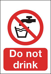 Do Not Drink  100x75mm 1.2mm Rigid Plastic Safety Sign