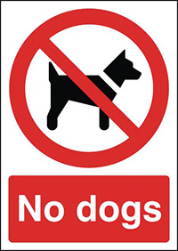 No Dogs 210x148mm 1.2mm Rigid Plastic Safety Sign