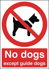 No Dogs Except Guide Dogs 210x148mm 1.2mm Rigid Plastic Safety Sign