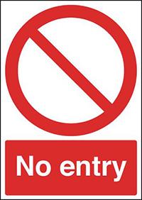 No Entry  Circular   Diagnoal Symbol   210x148mm 1.2mm Rigid Plastic Safety Sign