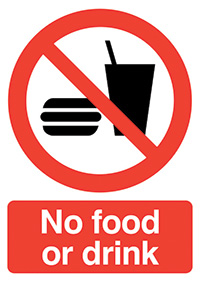 No Food or Drink  210x148mm 1.2mm Rigid Plastic Safety Sign