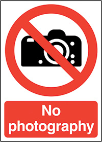 No Photography 210x148mm 1.2mm Rigid Plastic Safety Sign