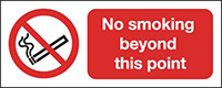 No Smoking Beyond This Point  100x250mm 1.2mm Rigid Plastic Safety Sign