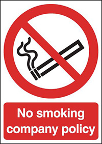 No Smoking Company Policy  210x148mm 1.2mm Rigid Plastic Safety Sign