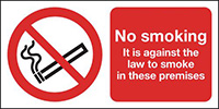 No Smoking It Is Against The Law 150x300mm Self Adhesive Vinyl Safety Sign