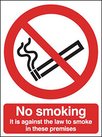 No Smoking It Is Against The Law  400x300mm 2mm Polycarbonate Safety Sign