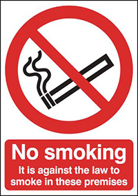 No Smoking It Is Against The Law  210x148mm 1.2mm Rigid Plastic Safety Sign